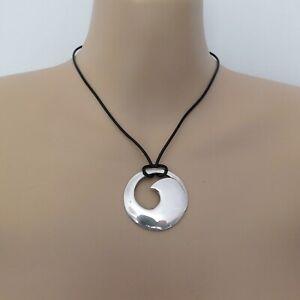 ORTAK SCOTLAND vintage sterling silver ocean wave pendant on black necklace