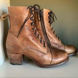 Bed Stu Boots Judgement Leather Block Heel Combat Womens Zip Side Lace Up Sz 8.5