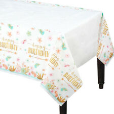 1st BIRTHDAY Boho Girl PAPER TABLE COVER ~ Party Supplies Decoration Cloth Pink