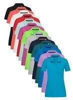 Womens Womans Ladies Plain Cotton Fashionable 5 Button Short Sleeve Polo Shirt