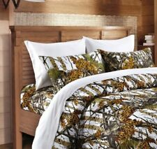 WHITE CAMO SHEET FULL SIZE WOODS CAMO BEDDING 6 SET BED CAMOUFLAGE FLAT FITTED