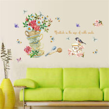 Kitchen Cups Flowers Room Home Decor Removable Wall Stickers Decals Decoration