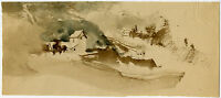 Antique Drawing-LANDSCAPE-FARM-Henderiks-ca. 1930