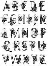 Rose Alphabet Set CLEAR Unmounted Rubber Stamps Impression Obsession CL724 New