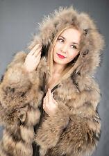 2193 New Wonderful Finn Raccoon Coat Luxury Jacket Hood Beautiful Look Size M