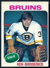 1975-76 OPC O PEE CHEE #340 KEN BRODERICK EX-NM BOSTON BRUINS HOCKEY CARD