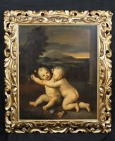 Huge 19th Century Bolognese Italian Old Master Putto Playing Flowers Antique
