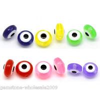 "300PCs Mixed Evil Eye Flat Round Resin Spacer Beads 8mmx5mm(3/8""x 2/8"") GW"
