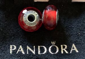 AUTHENTIC PANDORA STERLING SILVER 925 CHARM RED FACETED MURANO   Set of 2