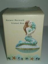 Mermaid Holding a Shell on a Clam Jeweled Pewter Trinket Box Beautiful Gift New