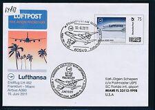 64813) LH FF Frankfurt - Miami USA 10.6.2011, Plusbrief individuell LH A380 R!