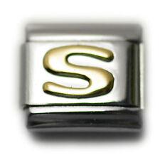 """Italian Charm Bracelet Alphabet Letter Link - LETTER """"S"""""""