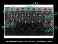 OLD LARGE HISTORIC PHOTO OF ROYAL CANADIAN MOUNTED POLICE, DEPOT DIVISION c1965