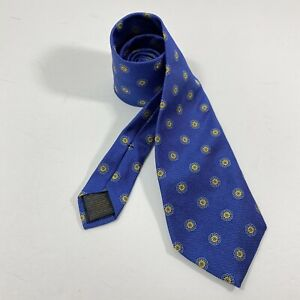 Brooks Brothers Tie Men's Neck Tie Pure Silk Blue gold Yellow Flowers