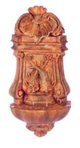 Dollhouse Miniature Wall Fountain with Aged Finish - 1:12 Scale