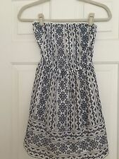 Abercrombie & Fitch Navy and White Strapless Sundress - Women's Size XS/ S -EUC