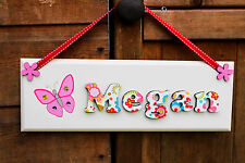 Girls butterfly door sign name plaque: multicoloured floral design and butterfly