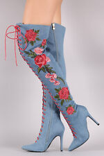New Women Red Embroidered Floral Stiletto Heel OTK Over The Knee Thigh High Boot