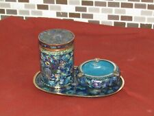 Service à fumeur CHINE XIXème, plateau, pot, cendrier bronze émaillé cloisonné