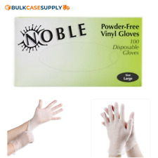 Noble Vinyl Powder Free Clear Gloves, Latex Fee Size Extra Large 100/BX