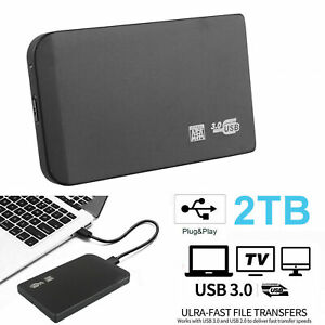 "2TB USB 3.0 Portable 2.5"" External Hard Drive Disk Ultra Slim For Laptop New"