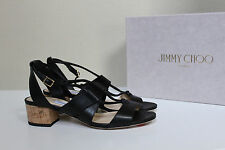 New sz 6.5 / 36.5 Jimmy Choo Margo Ghillie Lace Black Leather Ankle Sandal Shoes