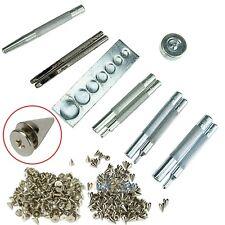 11Pcs Craft Tool Die Punch Snap Rivet Setter Base Kit + 100 x10mm Bullet Spikes