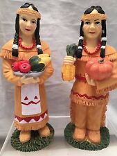 """VINTAGE NIB PAIR of 6"""" INDIAN SQUAWS THANKSGIVING HOLIDAY MEAL FIGURINES NOS BOX"""