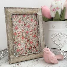 VINTAGE STYLE DITSY FLORAL WOODEN PHOTO PICTURE FRAME 4 X 6INCH RUSTIC NATURAL