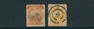 BOLIVIA 1890 COAT of ARMS (Scott 31 and 34 10c and 100c) VF USED