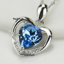 GIFTS FOR CHRISTMAS Silver 925 Blue Topaz Heart Necklace Xmas Wife Presents B3