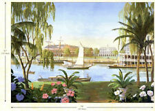 New Orleans Riverfront with Riverboat Wallpaper Mural  NR3728M