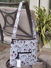 VERA BRADLEY HIPSTER CROSSBODY MESSENGER BAG $69 PLAYFUL PENGUINS in GRAY