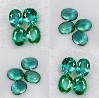 Superbe lot de 4 Emeraudes de Zambie qualité VS, taille ovale/1,63 carats