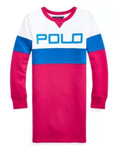 NWT $65 Polo Ralph Lauren Big Girls Logo Fleece T-shirt Dress 8-10, 12-14, 16