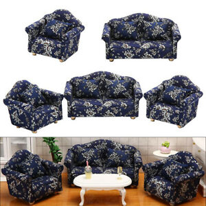 1/12 Dollhouse Miniature Wooden Mini Sofa Love Seat & Cushion Home Furniture