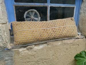 Antique 1900 shabby chic Boudoir pillow French  crochet linen big rectangular