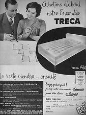 PUBLICITÉ 1958 TRÉCA MATELAS ET SOMMIER TRECARITZ - ADVERTISING
