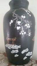 """Ceramic vase Cherry blossom sakura Asian art 13"""" Japanese style matte handmade"""