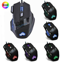 USB Wired Optical Game Gaming Mouse 7 Buttons Led Laser Pc Adjustable 5000 Dpi