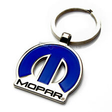 Mopar Logo Blue & Chrome Metal Key Chain for Dodge-Chrysler-Jeep Fans
