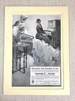 1915 Antico Stampa Vecchia Pubblicità Orchestrelle Pianola Wounded Soldier Nurse