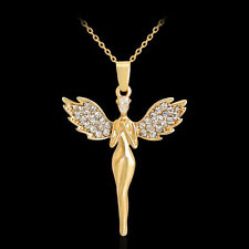 Women Fashion Gold Rhinestone Angel Wings Pendant Necklace Chain Jewelry Gift