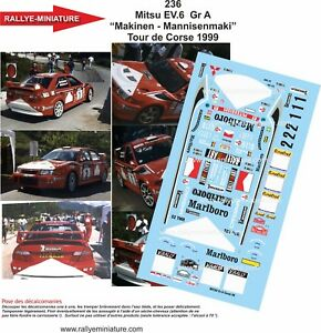 Decals 1/18 Ref 0236 Mitsubishi Lancer Loix Tour Of Corse 1999 Rally WRC