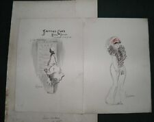 1911 LANCE THACKERAY original artwork-sketch SAVAGE CLUB MENU - Ex Sir Ponsonby