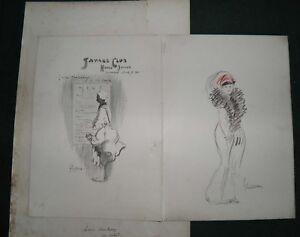 1911 LANCE THACKERAY original artwork-sketch SAVAGE CLUB MENU - Ex Sir Ponsonby