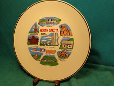 "Vtg 8 -1/2"" North Dakota Garrison Dam Fort Totter & Lincoln Garden State Plate"