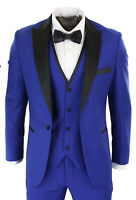 Men Blue Suit Pointed Lapel Tuxedo Dinner Suit 3 Piece Wedding Prom Party Wear