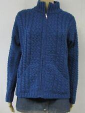 ARAN CRAFTS Merino Wool Cardigan Sweater Blue Cable Knit Zip Fishermen Ireland M