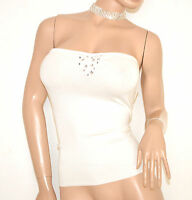 TOP FASCIA donna maglietta BIANCA sottogiacca cristalli cerimonia elegante E55